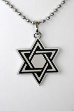 Brushed Stainless Steel  Star of David& Chai  W/ Chain