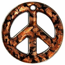 GLASS LAMPWORK PENDANT CHARM PEACE SIGN BROWN AND BLACK LAMP WORK CG13