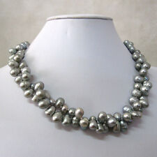 "Drilled 2Row Freshwater Pearl Necklace Ac 18"" 7-9mm Silver Gray Rice Top"