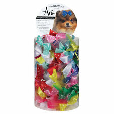 """Aria - Canister of 100 Bows - Satin Bow 5/8"""" Ribbon  Dots & Tulle - Dog Grooming"""