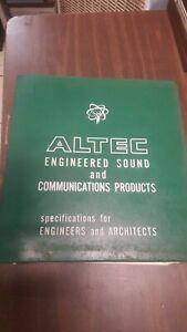 Lot 120+ Vintage Altec Sound System Spec Sheet for Engineers Orig Binder 1967 VG