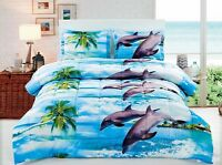 HIG 3D Dolphin And Palm Tree Printed Box Stitched Soft Breathable Comforter Set