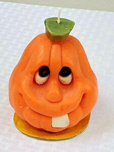 Vtg Suni Candle Co. Goofy Grin Big Tooth Jack-o-Lantern Halloween Pumpkin Unlit