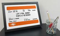 Personalised Retirement Gift - Train Ticket Style Print - Framed Mug Poster Card