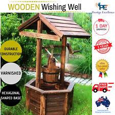 New Garden Wishing Well Wooden Timber Rustic Backyard Ornament Outdoor Decor AU