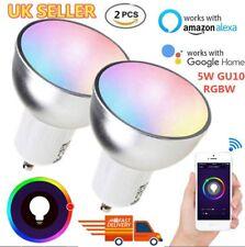 2 PACKS Smart WiFi Bulb LED Dimmable Timer RGB 5W GU10 Light For Alexa Google UK