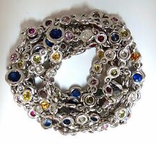 19.70ct natural sapphire diamonds station yard necklace 14kt Double Wrap Wear
