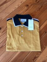 Gucci Gold Polo Tshirt For Men Print Shirt Cotton Original Logo Yellow Size XL