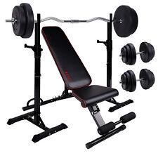 Banco de pesas multifunción con sporte de peso con 60kg pesas