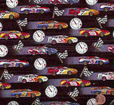 Race car clock flag Elizabeth Studio fabric