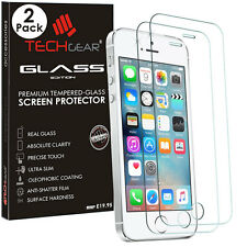 2 Pack TECHGEAR TEMPERED GLASS Screen Protectors for Apple iPhone SE 5s 5c 5