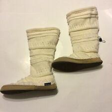MUKLUKS Tall Fleece Lined Ivory Knit Button Sweater Slipper Boots 6.5-7.5
