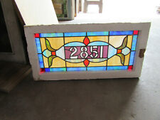~ ANTIQUE STAINED GLASS TRANSOM WINDOW ~ 32 x 16 ~ ADDRESS 2851 ~ SALVAGE