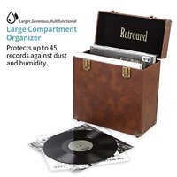 Retround Vintage Retro Vinyl leather Record Holder Case, LP Storage Carrying for