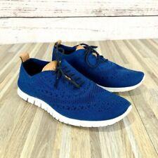 Cole Haan Women's ZeroGrand Knit Wingtip Sneakers Blue White Size 6