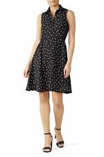 Kate Spade Women's Fit and Flare Daisy Dot Black Crepe Sleeveless Shirt Dress