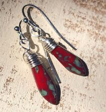 Min Favorit Red Turquoise Picasso Czech Glass Dagger & Silver Pl Wrap Earrings