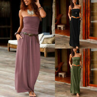 Women's Bandeau Off Shoulder Long Dress Summer Solid Maxi Dress Fashion NEW