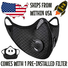 Reusable Outdoor Face Mask /w Valves & 5-Layer Filter - Breathable & Washable