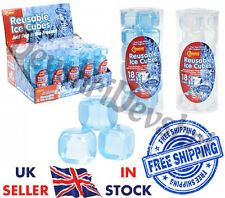 18 Reuseable Reusable Ice Cubes Per Packs Fast Quick Freeze *Blue Or White*