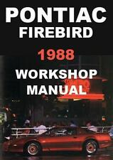 PONTIAC FIREBIRD 1988 WORKSHOP MANUAL