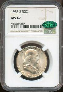 1953 S $.50 Ben Franklin Half Dollar MS 67 CAC NGC, Blastw White Coin, Rare!