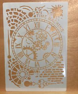 Large A4 Background Stencil, Mask, Clocks, Cogs ,Brickwork, Steampunk