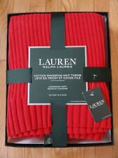 Ralph Lauren Knit Throw Blanket Solid Red Ringspun Cotton 50 X 70 NWT