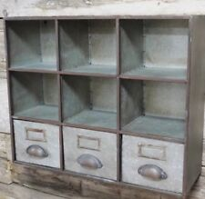 Industrial Pigeon Hole 3 Drawers Storage Cabinet Shelving Wall Unit Furniture