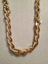 """TRIFARI GOLDTONE SMALL WHITE BEADS 23"""" NECKLACE (a100)"""