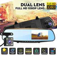 "FHD 1080P 4.3"" Dual Lens Car DVR Dash Cam Reversing Camera Mirror Video Recorder"