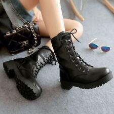 New Fashion Womens lady Lace Up flats Rivet Punk mid calf boots motorcycle shoes