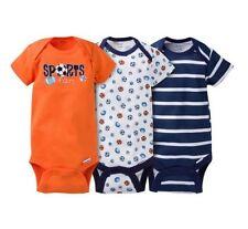 Gerber Boy 3-Piece Navy/Orange Sports Onesies Size NB Baby Clothes Shower Gift!