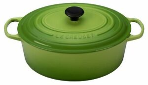 NIB LE CREUSET PALM GREEN CLASSIC IRON CAST OVAL DUTCH OVEN 8 QT RARE COLOR!