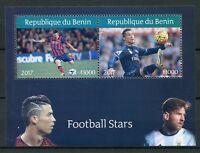 Benin 2017 CTO Football Stars Ronaldo Lionel Messi 2v M/S Soccer Stamps