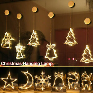 Christmas Window Hanging LED Fairy String Light Party Suction Cup Ornament Decor