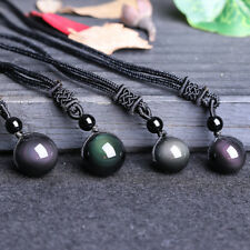 Natural Crystal Black Obsidian Necklace Pendant Stone Rainbow Eye Bead Ball UK