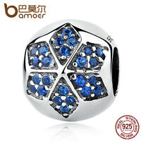 Bamoer Shine European S925 Sterling Silver charm With Blue CZ Star fit Bracelets