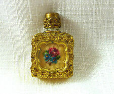 Vintage Petit Point, Gold Filigree Mini Perfume Bottle With Glass Dauber