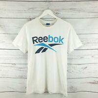 Mens Retro Reebok Classic White Vintage 90s Logo Tshirt Top Size Large L