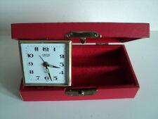 Reloj Despertador Vintage De Coral/Caja de la baratija de Cuero Cuerda a mano hecha en Japón