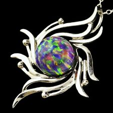 "Alducchi Royal Lavender Rainbow lab Fire Opal .925 Silver Pendant 18"" Necklace"