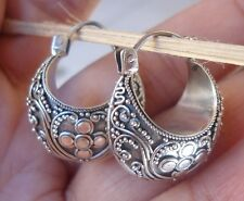 925 Sterling Silver-Ll104-Balinese Hand Made Earring Hoop Traditional Style