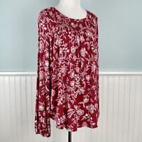 Size Small S Knox Rose Red Floral Stretch Smocked Peasant Shirt Blouse Top NWT