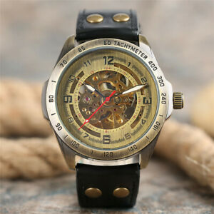 SHENHUA Leather Band Men Mechanical Automatic Wrist Watch Luminous Hands Uhr