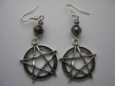 Handmade Pentagram Earrings Wicca Pagan (Purple Rondelle)