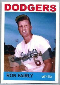 RON FAIRLY LOS ANGELES DODGERS 1964 STYLE CUSTOM MADE BASEBALL CARD BLANK BACK
