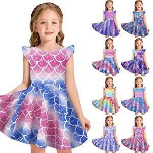 Kids Girls Fancy Dress Up Little Mermaid Ariel Princess Cosplay Costume Outfits