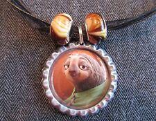 ZOOTOPIA Black Ribbon Bottle Cap Bling Charm Necklace Beads Flash Slow Sloth