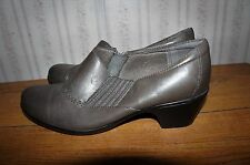 Clarks Bendables Gray Leather Oxfords Heels Shoes 10 W 10W wide